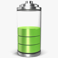 3d cell phone battery icon
