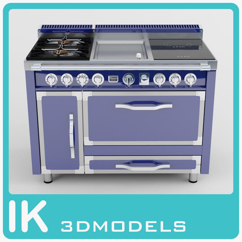 viking burners-griddle-induction 3d max