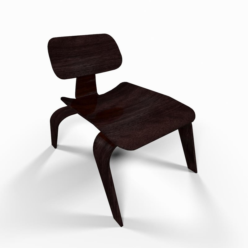 wooden reading chair 3d model