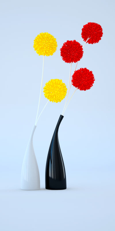 free c4d mode ceramic vases flowers