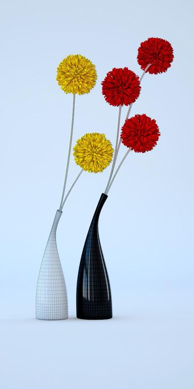 Free C4d Mode Ceramic Vases Flowers