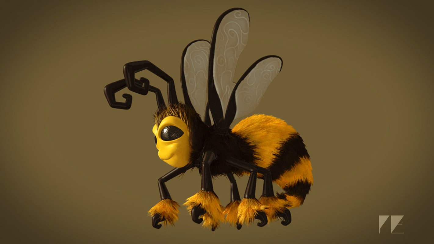 cartoon bee rig 3d model