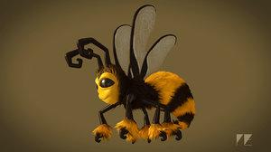cartoon bee rig 3d model