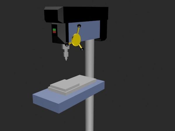 simple drill press 3d max