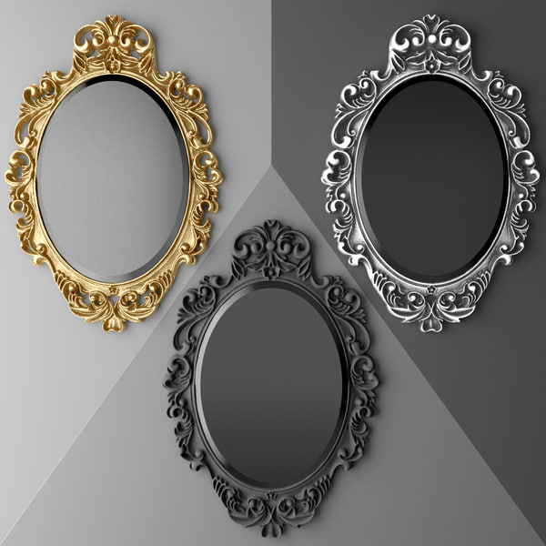3d model baroque oval frame