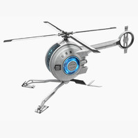 futuristic helicopter hologram obj