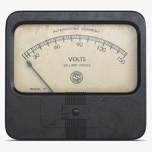 3d model vintage meter 3