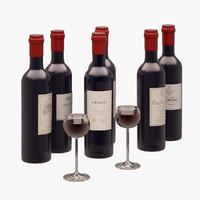 wine bottles 3d model