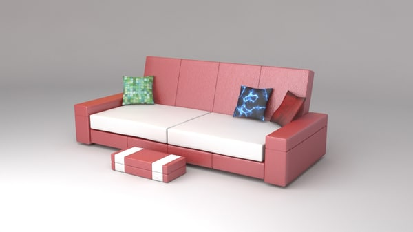 couch monaco red 3d max