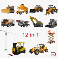 construction vehicles forklift bulldozer 3d c4d