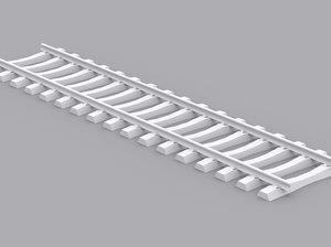 3d voie beton monobloc rail model