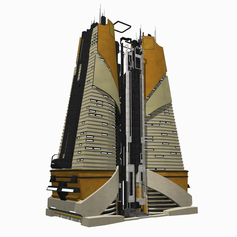 3d - sci fi building