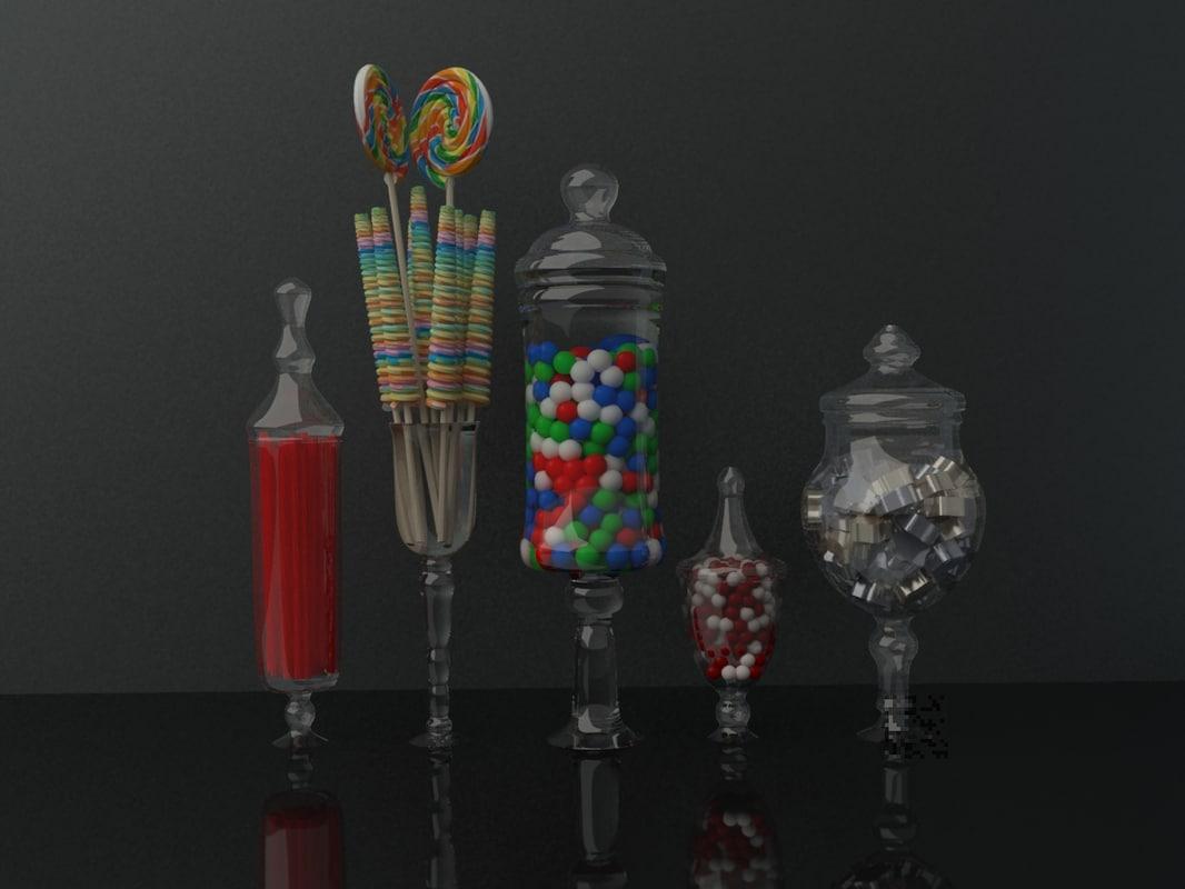 3d jars candy model