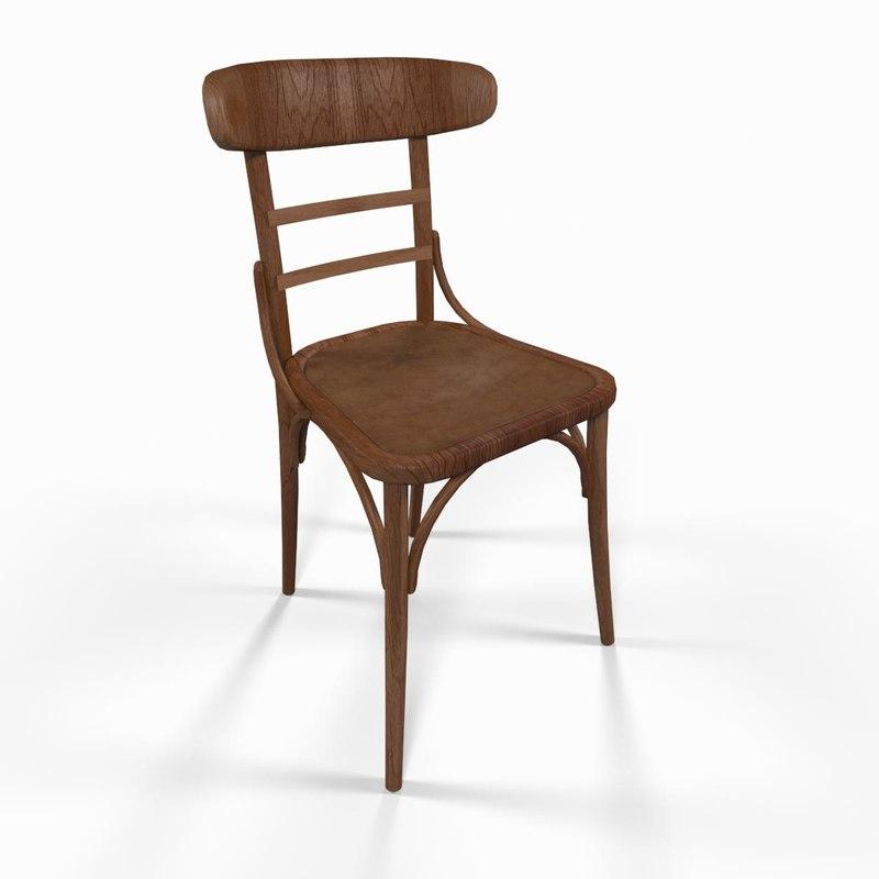 3dsmax classic wooden chair