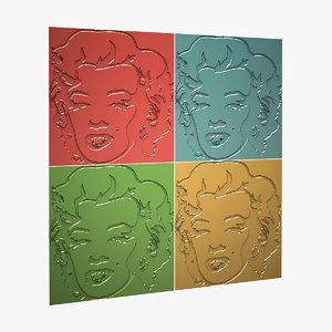 3d model marilyn monroe panels