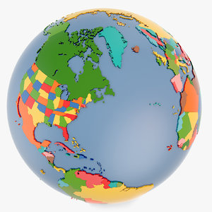 3d country world globe model