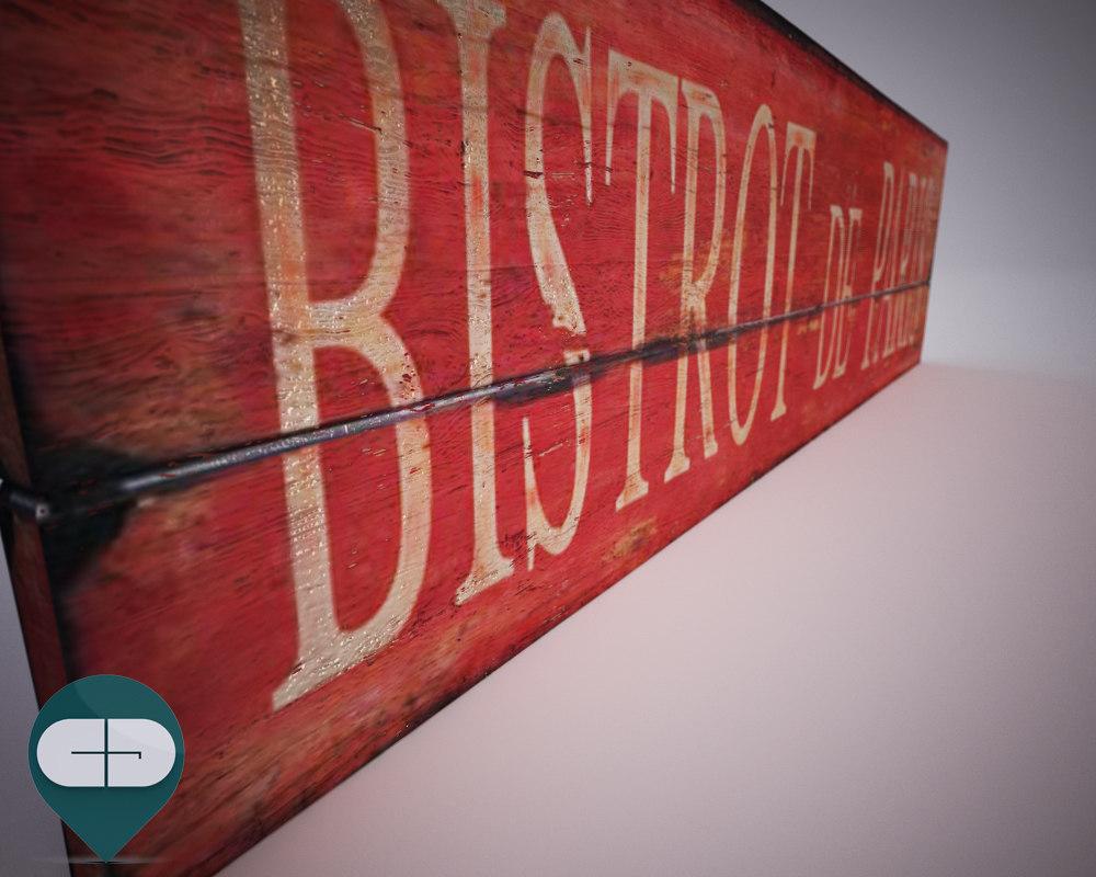 bistro signboard 3d 3ds
