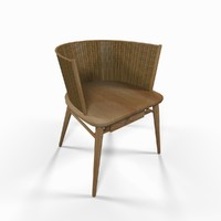 3d model chair wicker backrest