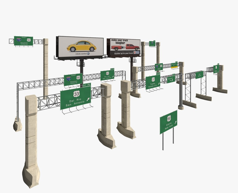 highway signs 3d model