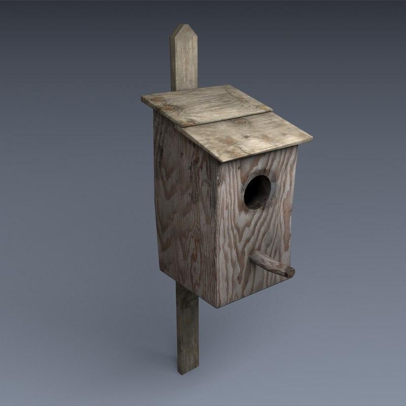 3d old bird house model