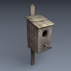 3d old bird house model