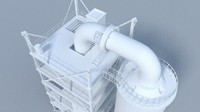 3d model refinery tower 1
