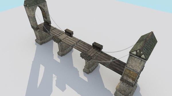 drawbridge medieval city bridge fbx