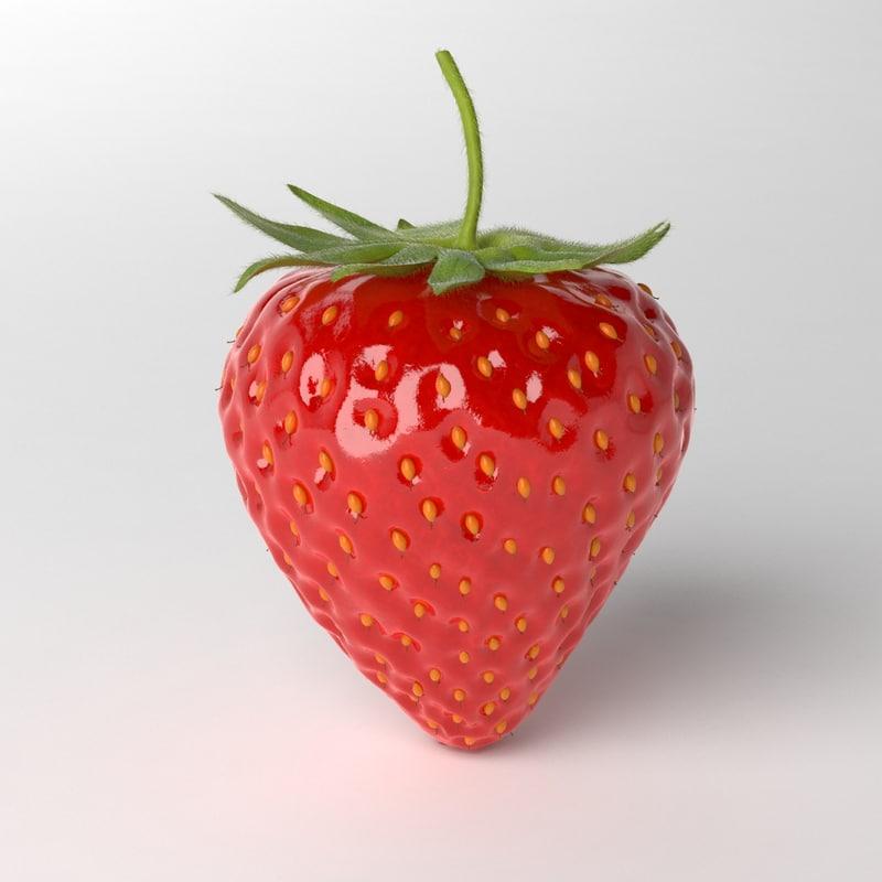 photorealistic strawberry 3d model