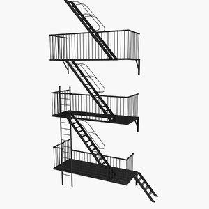 escape stairs 3d obj