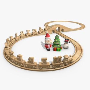 3d model toy wooden train