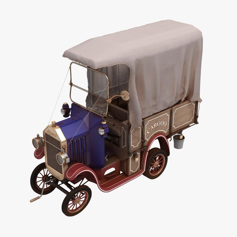 funny truck cartoon car 3d max