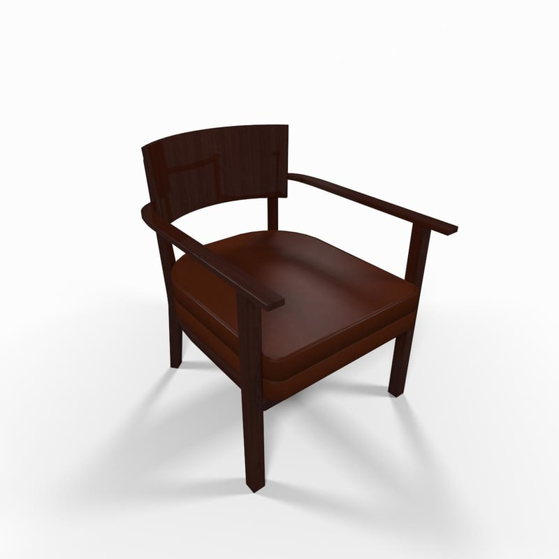 wooden armchair chair 3d model