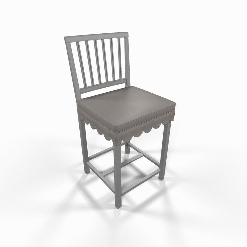 3dsmax white wooden chair