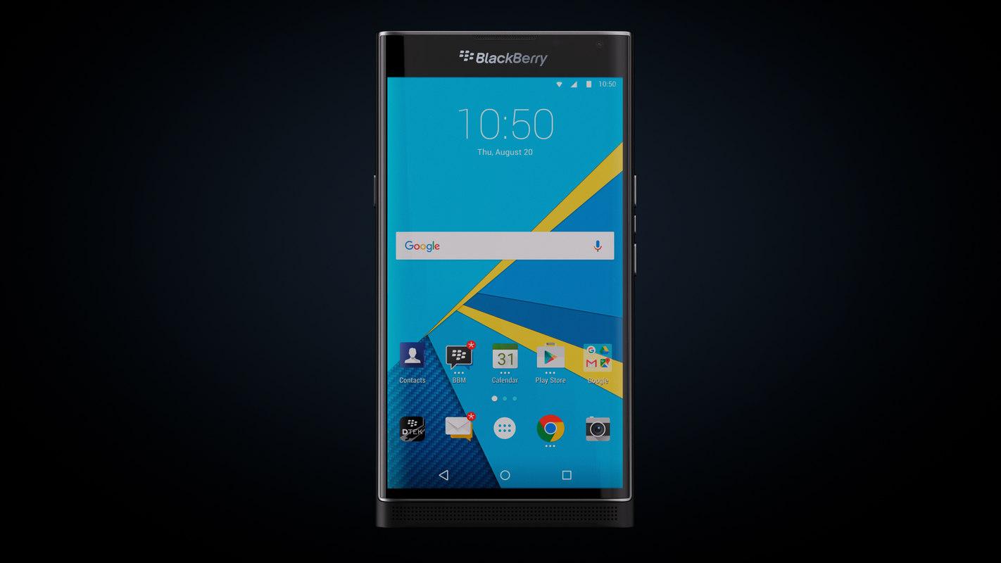 blackberry priv smartphone black 3d model