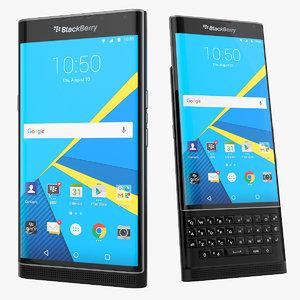 blackberry priv android smartphone 3d model