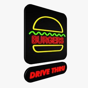 neon burger sign 3d 3ds