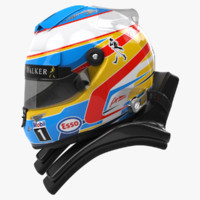 3d model racing helmet fernando alonso