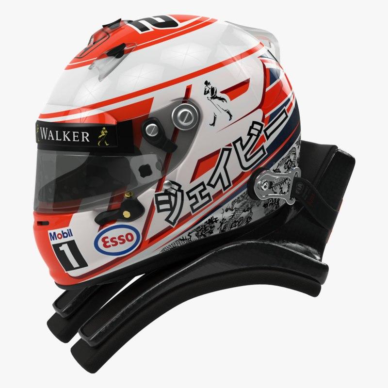racing helmet jenson button 3d model