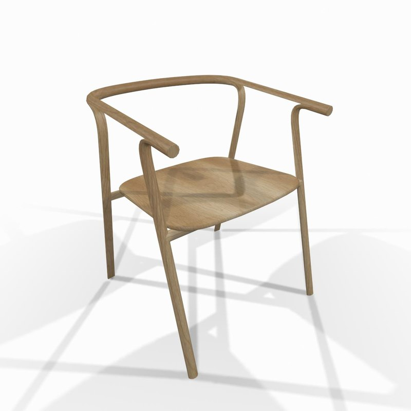 simple wooden designer chair obj