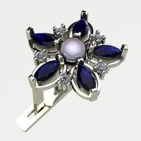 3d model earring flower