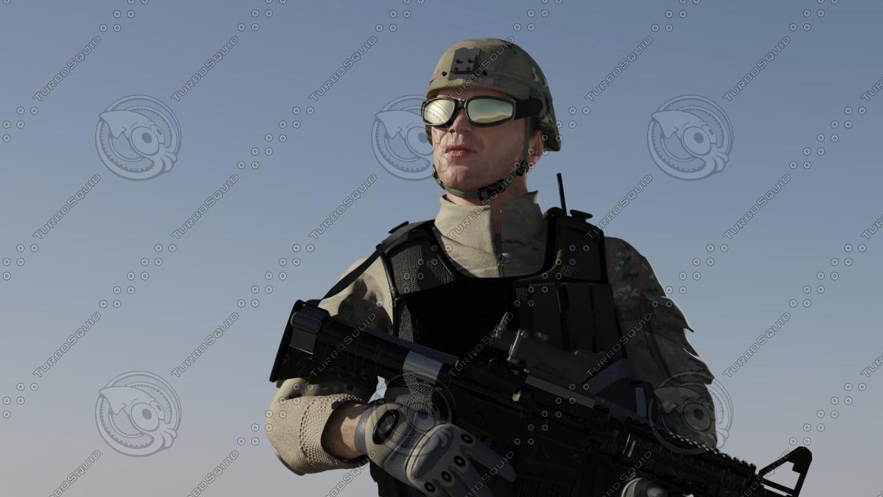 3d soldier weapons model