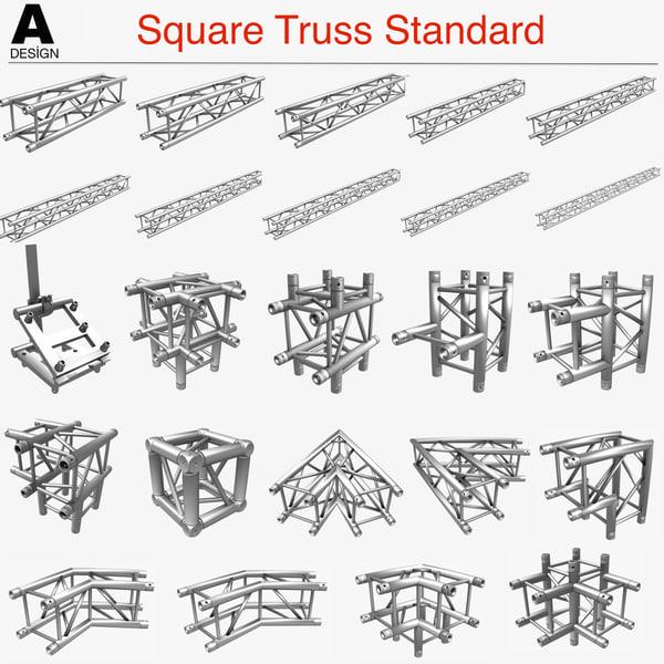 3d model square truss standard 24