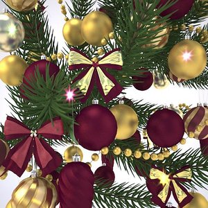 3d christmas tree branch balls