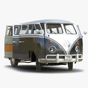 volkswagen type 2 black 3d model
