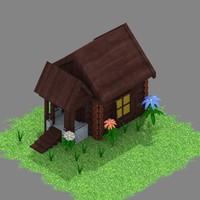 isometric hut 3d model