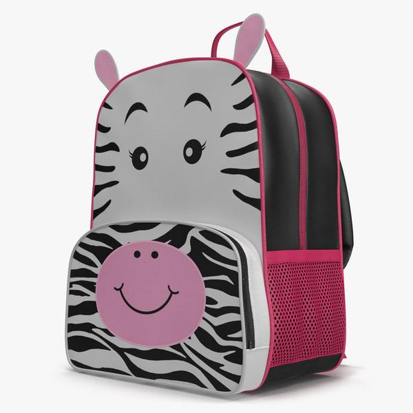 kid backpack zebra modeled 3d max