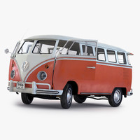 3d volkswagen type 2 brown model