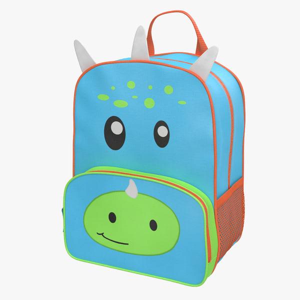 3d kid backpack dino modeled model