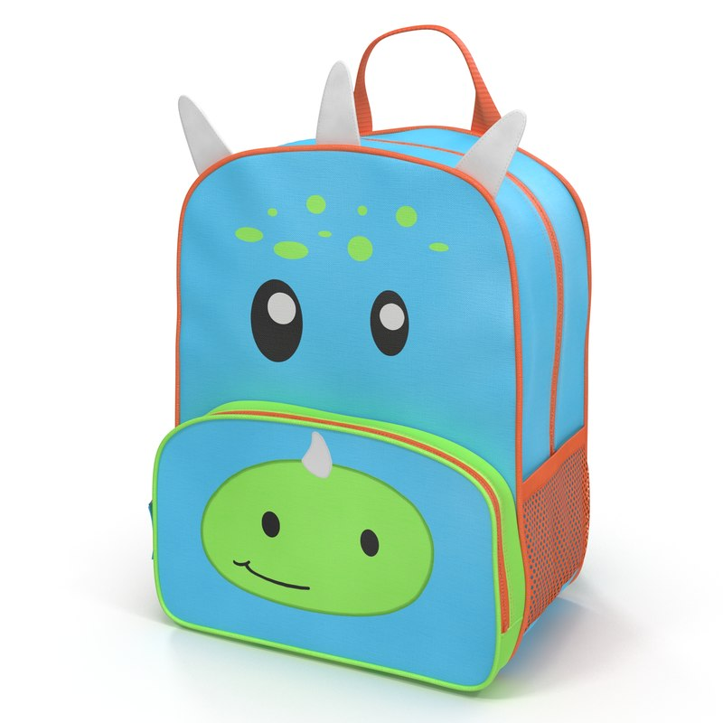 3d kid backpack dino modeled model