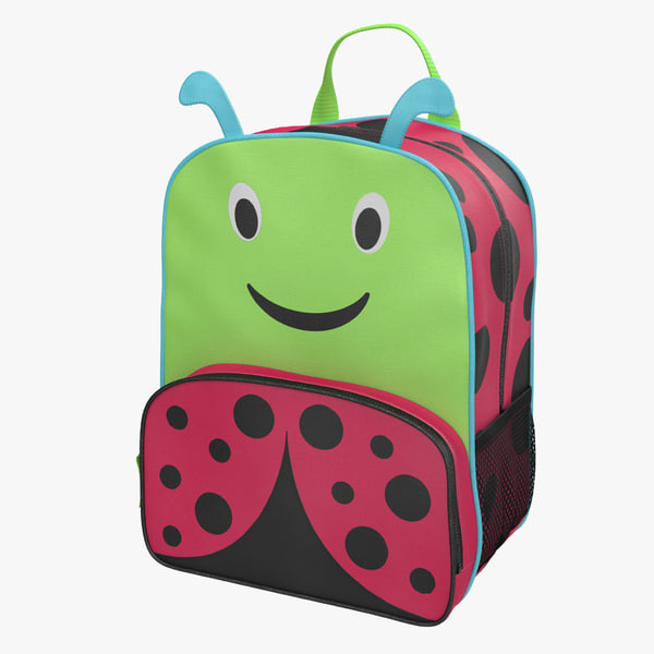 3d model kid backpack ladybug